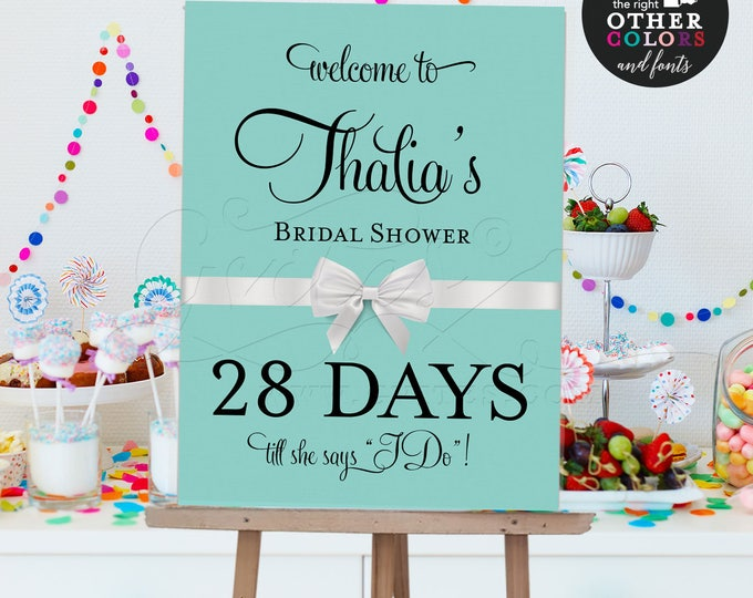 Welcome Countdown, bridal shower sign,bride and co, printable digital poster signs, breakfast at themed. {Customizable Name & Days ONLY}
