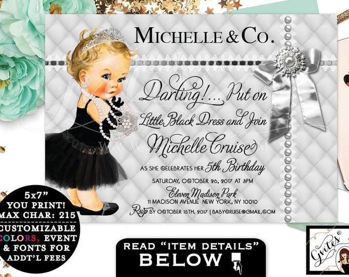 Silver and black baby shower invitation, princess baby girl, baby and co printable invites, breakfast at Tiffany's customizable, 7x5.