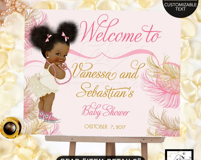 Pink and gold Welcome baby shower sign, baby girl decorations, table signs, african american diamonds pearls, DIGITAL FILE ONLY!