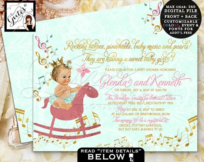 Mint and green baby shower invitation, music baby shower invitation princess pink and gold, rocking horse, pinwheels and pearls, vintage.