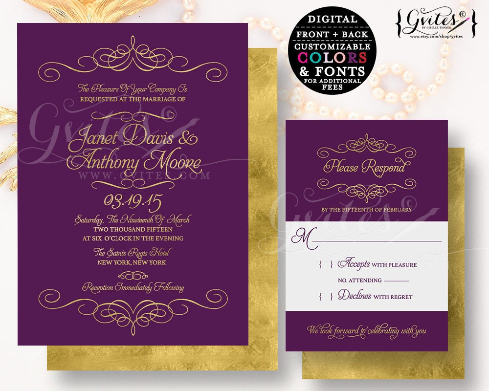 Purple Gold Wedding Invitation Customizable Invites Glitter Modern Printable Plum Digital Couture Glitz Glam Double Sided