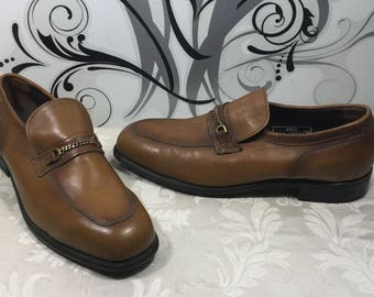 Men's loafers, Goodyear shoes, Tan loafers, Men's leather shoes, Size 11 1/2 shoes, Slide on shoes, Men's wigtip shoes,