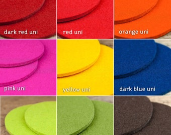 "round felt coasters, Ø 10 cm/3,93"", orange rot blau grün pink gelb braun lemmon uni home decoration hostess gift"