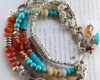 bracelet, turquoise bracelet, carnelian bracelet, southwestern bracelet, bohemian bracelet, boho chic bracelet