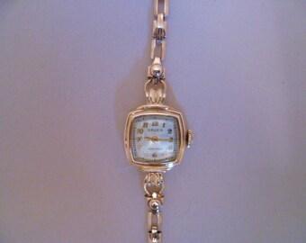 rose gold ladies gruen verithin wrist watch, wind up watch, bracelet watch
