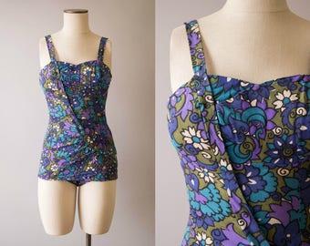 vintage 1960s swimsuit / 60s floral bathing suit / small /