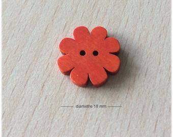 pretty orange flower wooden 18 mm in diameter