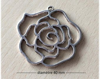 "Connector / pendant antiqued Silver ""rose"""