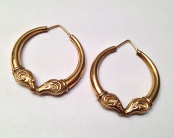 SALE- Figural 14k Double Ram Head Hoop Earrings- Aries Zodiac!