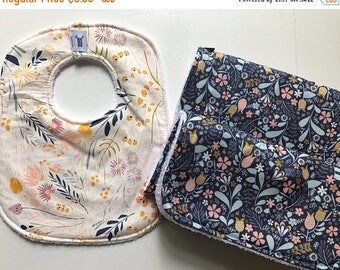 ON SALE Burp Cloths, Bib, Washcloths - 100% Cotton and Terry Cloth - Baby Shower Gift Bundle - Floral, Aztec, Woodland, Multiple Fabric Choi