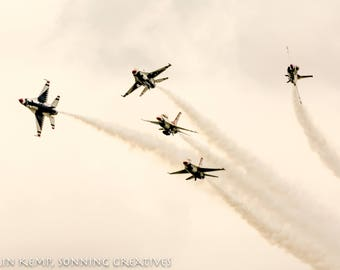 USAF Thunderbirds display, photographic print, F22 jet photograph, various sizes
