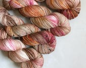 Glitzy Sock 'Rose Gold' Hand Dyed Yarn