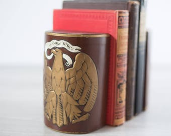 Vintage Bookends /  E pluribus unum Golden Eagle United States Brown Book Ends