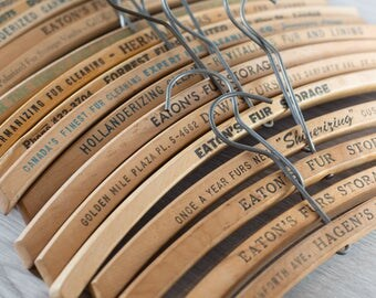 Custom order - Wooden Fur Coat Hangers / Set of 40 Vintage Clothing Hangers from Toronto Canada with Printed Advertising