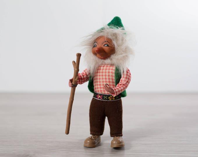 Vintage Leprechaun Doll / Troll Figurine / White Bearded German Plush with Walking Stick and Green Shirt