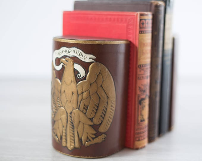 Vintage Bookends /  E pluribus unum Golden Eagle United States Brown Book Ends