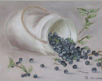 Blueberries painting pastel chalk art Nature purple fruit berries