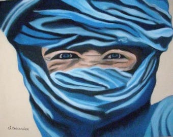 The man in blue sablesTableau pastel chalk art
