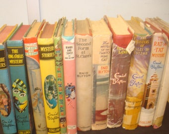 Set of 12 Enid Blyton Books  some with DJs. Mixed publishers and editions