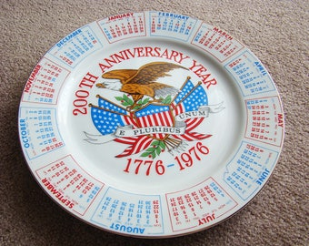Vintage Collectible 200th Anniversary Spencer Gifts 1976 Bicentennial Collector Calendar Plate Red White & Blue, Vintage Patriotic Plates