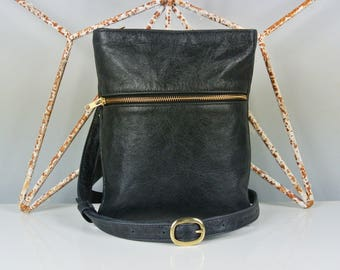 Black Leather 'Marldon Zipper' Messenger Bag - Cross-body Bag - Shoulder Bag - Personalized Bag - Made in the UK - Italian Leather
