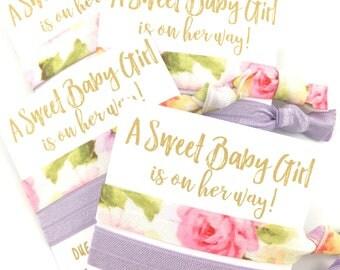 Baby Girl Shower Favors | Girl Baby Shower Favors | It's A Girl | Custom Baby Shower Favors | Hair Tie Favors | Lavender | Baby Girl Favors