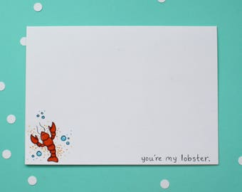 You're my lobster. Love or Valentine card for someone special.  Handmade card.