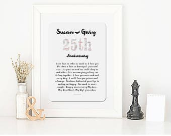 25th Anniversary Personalised Framed Word Art Poem