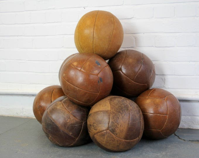 Large Leather Medicine Balls Circa 1940s