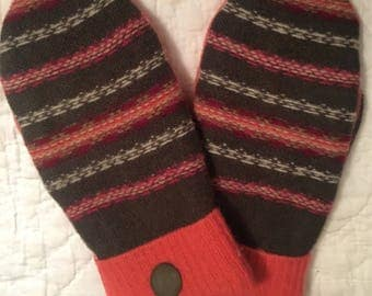A16   Felted wool mittens lined with fleece