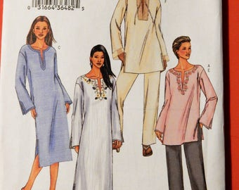 Butterick 3840 Very easy to sew tunic, dress, caftan and pants pattern Uncut Sizes extra small (6), small (8-10) and medium (12-14)