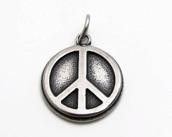 Peace Sign Pendant, Stainless Steel Charm, Jewelry Pendant, SST Findings 19mm, Set of 3, Peace Sign Charm, Peace Charm