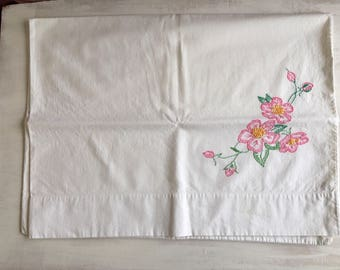 Vintage White Pillowcase Embroidered with Pink Flowers
