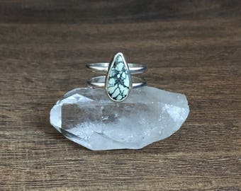 New Lander Turquoise/Chalcosiderite Ring  // Sterling Silver