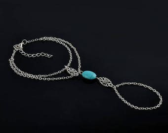 X 1 slave bracelet silver and turquoise bead