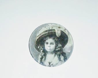 Cabochon 1 X girl glass 25mm