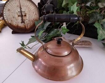Coppercraft Guild Copper & Brass Tea Kettle with Black Wood Handle Vintage Kitchen