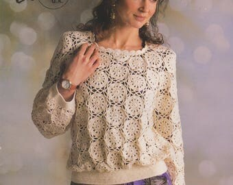 Crochet Pullover Patons Cotton d k Art no 17069