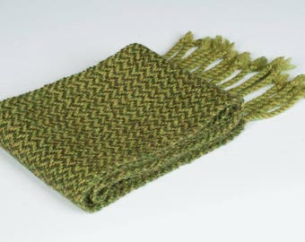 Green Wool Scarf Woman Man Accessory Gift Twill