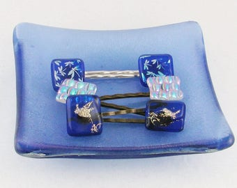 Fused Glass Bobby Pins - Hair Clips - Dragonflies or hummingbird hair pins - Dichroic hair jewelry  (4347-4582-4963)