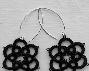 Lightweight Earrings - black tatted earrings - dangle drop earrings - flower earrings