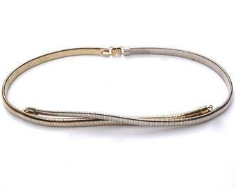 """Vintage Skinny Stretch Belt,23""""-30"""" Small Stretch Belt,Slinky Belt Belt,Expansion Belt,Gold Tone Metal Belt,Retro Disco Snake Belt"""