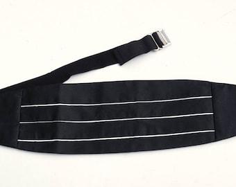 Vintage Tuxedo Cummerbund,Black & White Cummerbund Belt,Lord West 25-52,Made in U.S.A,Groom Wedding Attire,Formal Wear,Black Tie Accessories