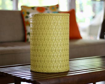 Superior Vintage Yellow Woven Trash Can / Woven Yellow Trash Can / Yellow Waste  Basket / Yellow