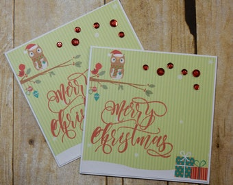 2 Christmas Greeting Cards / Blank Inside Greeting Cards / Greeting Card Set / Greeting Card Pack