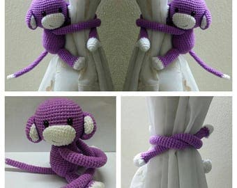A pair of Lavender Monkeys Curtain Tiebacks (Both side)    MADE TO ORDER..