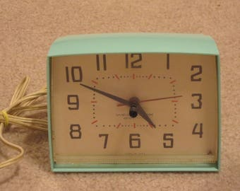 Vintage Turquoise Blue Westclox Electric 6 by 5 Inch Kitchen Clock, Kitchen Wall Clock, Vintage Kitchen
