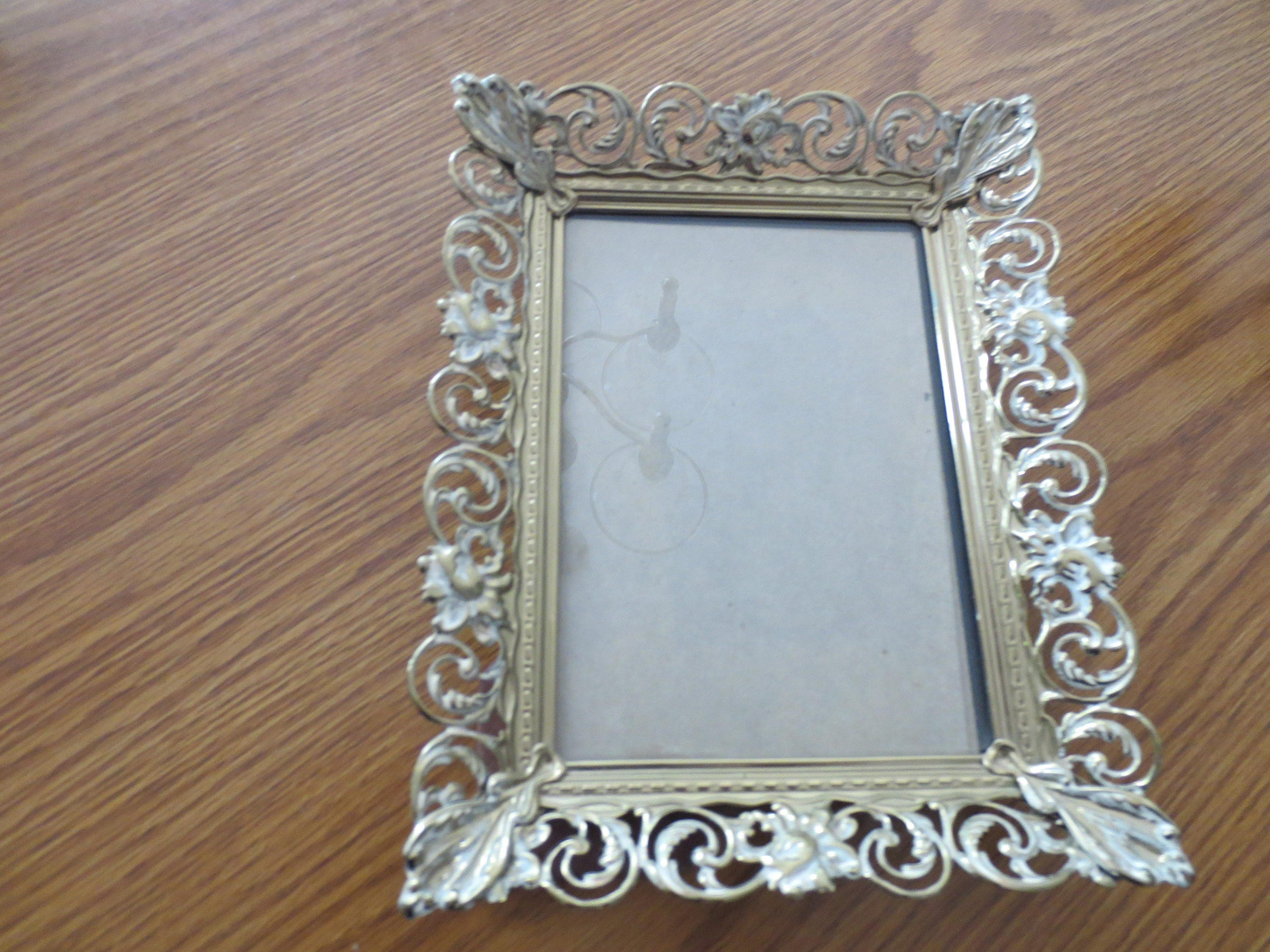 Vintage metal gold toned ornate frames filagree picture frames 7 metal frame decorative frame sold by screenporchvintage jeuxipadfo Image collections