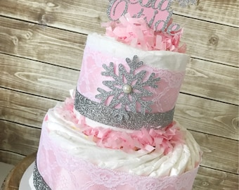 2 Tier Baby It's Cold Outside Diaper Cake in Pink and Silver, Winter Wonderland Centerpiecd, Winter Theme Baby Shower Decoration