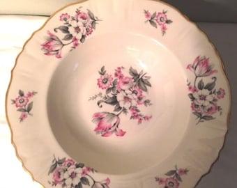 8 Aberdeen China Soup bowls - Moss Rose design